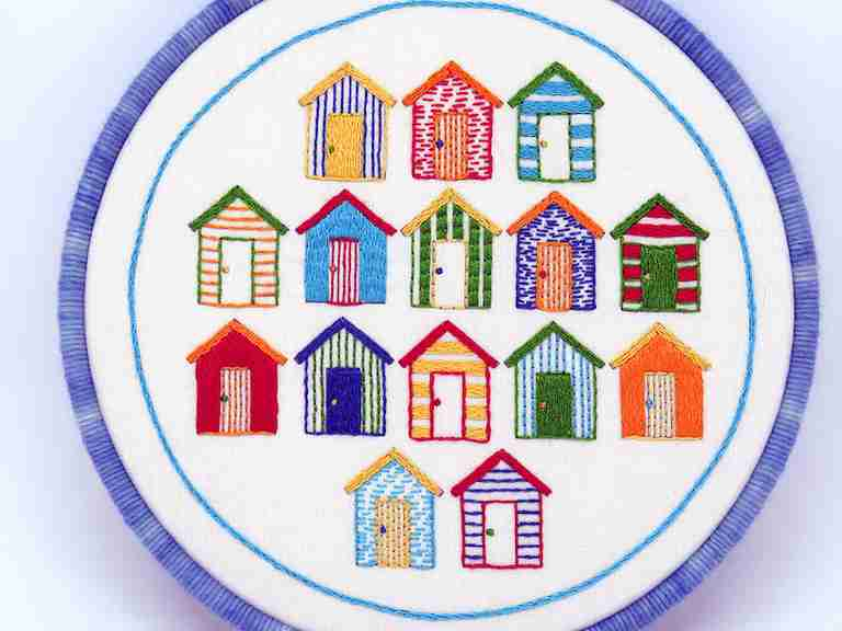 Beach Huts embroidery Pattern