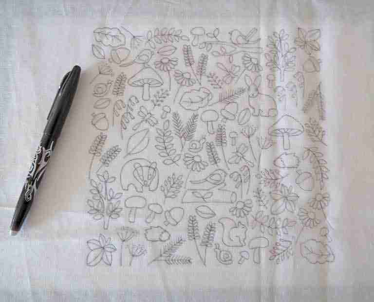 embroidery pattern traced on fabric