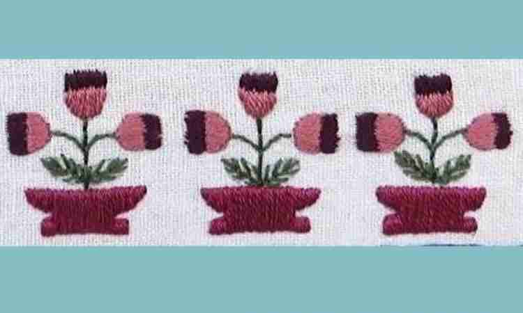 hand embroidered tulips