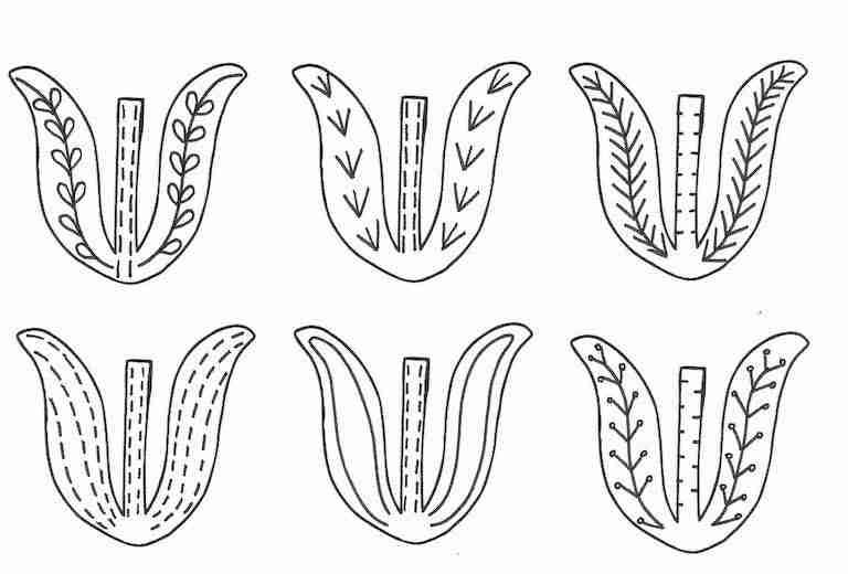tulip leaves template