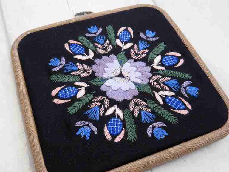 twilight flowers hand embroidery pattern