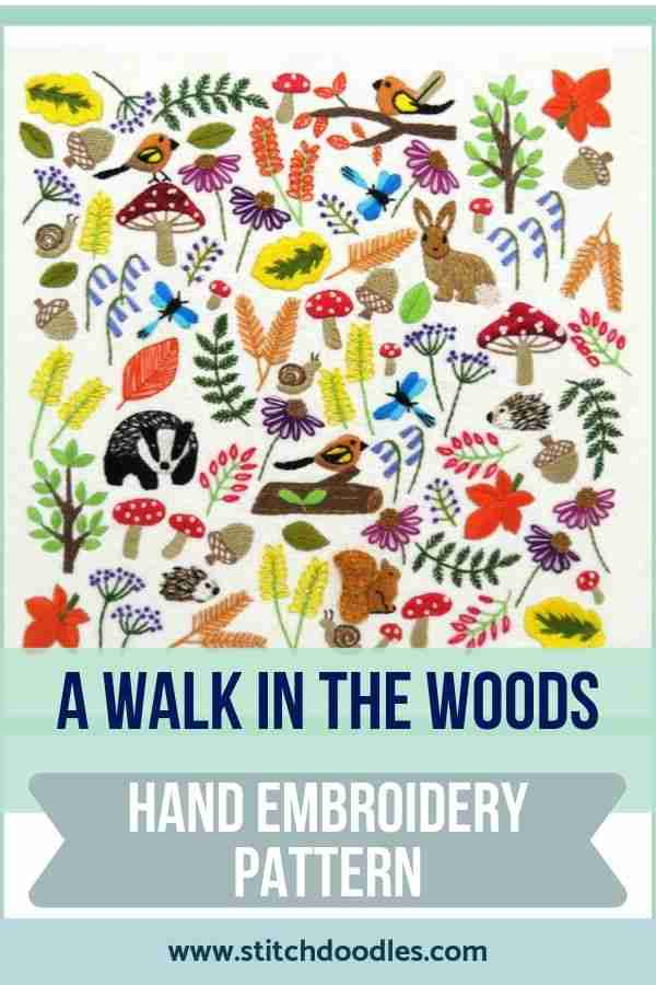 walk in the woods hand embroidery pattern