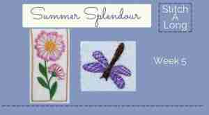 hand embroidered flower and dragonfly