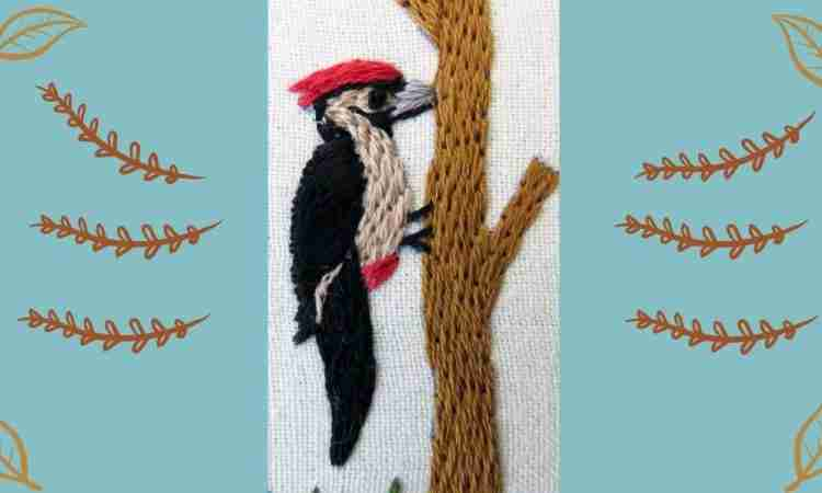 hand embroidered woodpecker